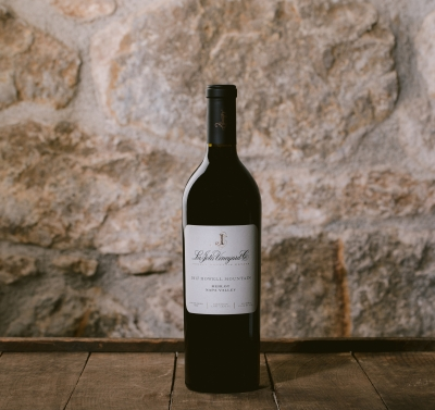 Single bottle of red wine against a stone background